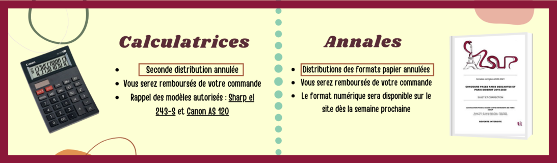 Informations Calculatrices et Annales